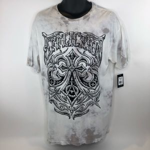 Affliction Midnight Dirge White Gray Tee Shirt New